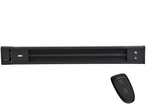 Traedgard - Radiador eléctrico por infrarrojos para montaje en pared o techo, 1800 W, con mando a distancia, resistente al agua, aluminio pulverizado, calefactor oscuro