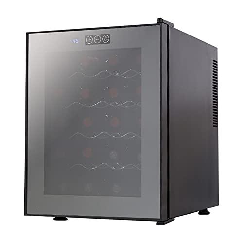 SADWQ Vinoteca 16 Botellas con Display Digital Temperatura Regulable, Panel Táctl Puerta de Vidrio para Cocina Hogar, Bar Menos Ruido y Sin Vibraciones- Negro