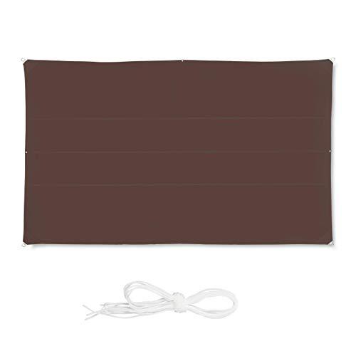 Relaxdays, Marrón Toldo Vela Rectangular, Impermeable, Protección Rayos UV, con Cuerdas para tensar, 4x6 m, 4 x 6 m