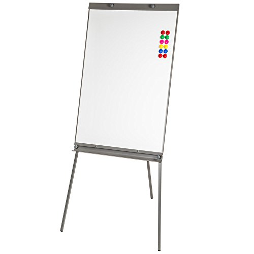 TecTake Flipchart Moderationstafel Magnettafel Whiteboard Höhenverstellbar Schreibfläche 65x95cm + 12 Magnete + Ablageschale