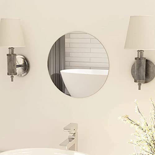 vidaXL Espejo sin Marco Redondo para Maquillaje de Cuatro Baño Decoración Hogar Oficina Dormitorio Habitación Adhesivos de Mural Vidrio 30cm