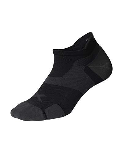 2XU Men's Vectr Cushion No Show Socks, Black/Titanium, Medium