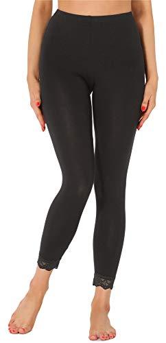 Merry Style Damen 7/8 Leggings mit Spitze MS10-342(Schwarz,L)