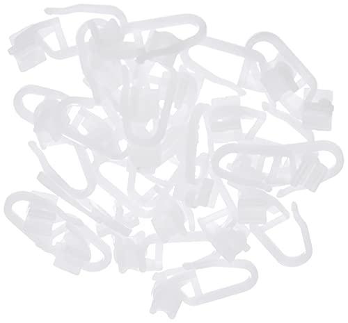 GARDINIA X-Gelenkgleiter inklusive Faltenlegehaken, 25 Stück, Kunststoff, Weiß