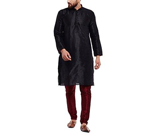 Royal SOJANYA Men's Dupion Silk Kurta Large Black