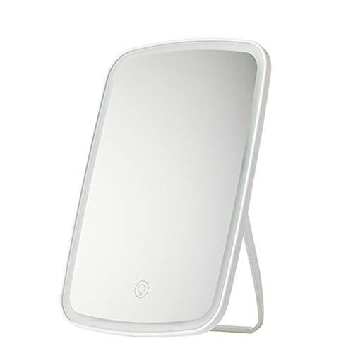 GOCF Miroir De Maquillage Portable Dressing indépendant Table Miroir Angle réglable pour Le Maquillage De Comptoir (Color : White, Size : 16.8x2.5x27cm)