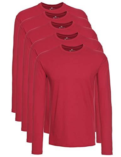 Lower East 5er Pack Herren Langarmshirt mit Rundhals-Ausschnitt, in verschiedenen Farben 5er Pack, Rot, XX-Large