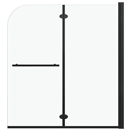 vidaXL Mampara de Ducha Plegable 2 Paneles Puerta Cabina Baño Cerramiento Partición Cubículo Apertura Central Cristal Seguridad ESG Negro 120x140 cm