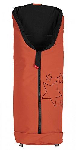 ByBoom - Softshell Fußsack Frühling, Sommer, Herbst - Thermo Aktiv für Kinderwagen und Buggy, Farbe:Orange/Schwarz