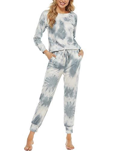 Aoymay Womens Tie Dye Printed Lounge Pajamas Set Ladies Long PJS Two Piece Sleepwear Loungewear