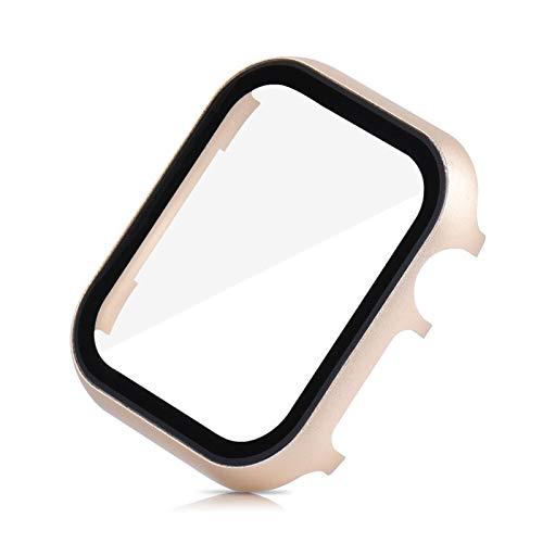 JJBFAC Funda Protectora de Pantalla para Apple Watch SE 40mm 44mm 38mm 42mm Serie de Cubierta de Metal 6 5 4 3 Parachoques con cáscara de película de Vidrio Templado 3D