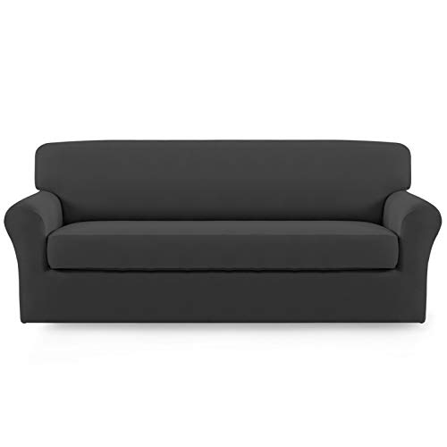 Easy-Going 2 Pieces Microfiber Stretch Sofa Slipcover – Spandex Soft Fitted Sofa Couch Cover,...