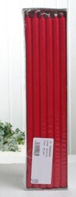 Stabkerzen, 30 x 1,2 cm Ø, 12er-Pack, rubinrot