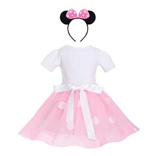 IWEMEK - Vestido tutú con cinta para bebé, diseño de princesa, lunares y diadema, diseño de canal, baile, ceremonia, cumpleaños, de 12 meses a 6 años, 3 a 4 años