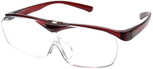 両手が使えるメガネ型拡大鏡 1.6倍ルーペ Face Trick glasses 掛けたままハネアゲ可能 レッド