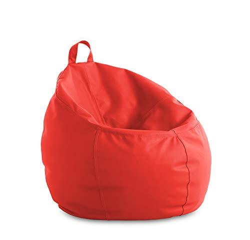 textil-home Puf - Pera moldeable XXL Puff - 90x90x135 cm- Color Malva. TEJIDO POLIPIEL alta resistencia - Doble repunte - (Incluye relleno bolas Poliestireno) - 320 Litros capacidad.
