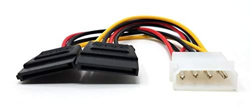 Maincore 4-Pin Molex auf 2x SATA 15-pin Twin Y Stromkabel, LP4 auf SATA Adapterkabel, zur Stromversorgung von SATA-Festplatten einschließlich Solid State Drives (SSD)