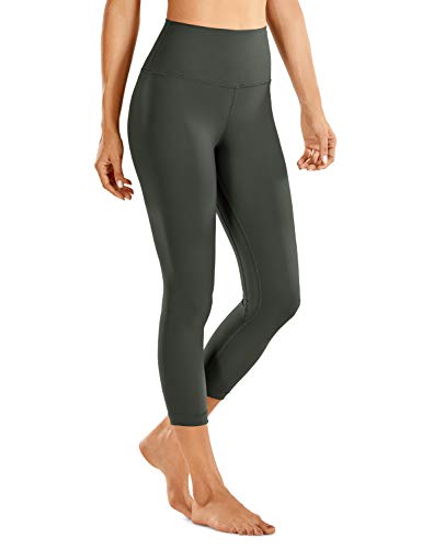 CRZ YOGA Women's Naked Feeling I High Waist Tight Yoga Pants Workout Capris Leggings - 21 Inches Olive Green-R418A Large