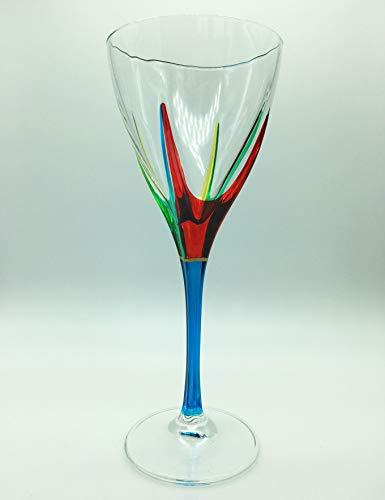 「ポジタノ」ワイングラス - ターコイズステム - 手塗りベネチアンガラス