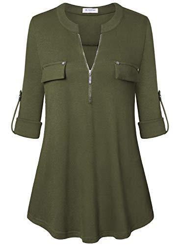 Bulotus Women's V Neck Long Roll Up Sleeve Work Blouses for Leggings,Green,Small