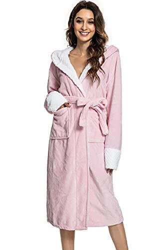 Voqeen Bata de mujer con capucha, elegante y sexy, pijama Kimono para mujer, de invierno, de franela, pijama, para casa, spa, hotel Rosa Talla única