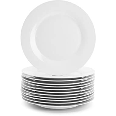 Restaurant and catering 10.5  Porcelain White Round Dinner Plates, Set of 12