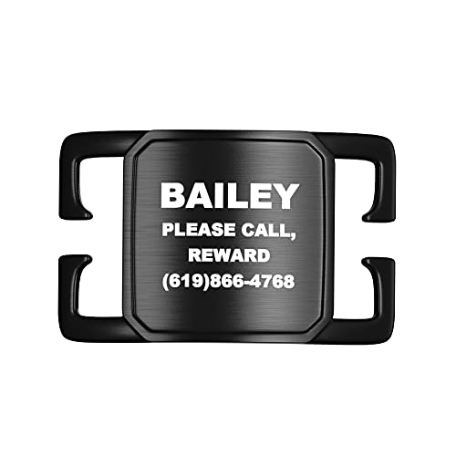 Divoti Deep Laser Custom Engraved Slide-On Pet ID Tags for Dogs & Cats, Customized Silent, No Noise Collar Tags, PVD Black Stainless Steel, Includes up to 4 Lines of Personalized Text - Large