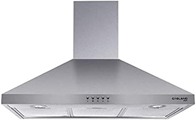 "30"" Range Hood, GASLAND Chef PR30SP Stainless Steel Wall Mount Range Hood 30 Inch, 3 Speed 450 CFM Ducted Exhaust Hood Fan, Push Button Control, Convertible Chimney, 2 LED Lights, Aluminum Filter"