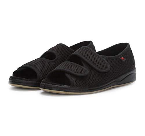 TDYSDYN Zapatillas de Velcro para Mayores,Sandalias de Mujer ensanchadas Transpirables, pies hinchados y deformados-Negro_36