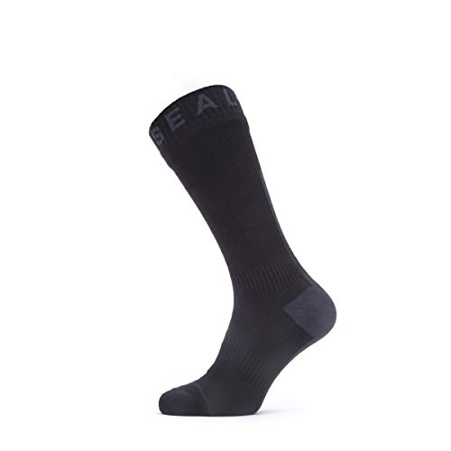 SealSkinz Waterproof All Weather Mid Length Sock with Hydrostop, Black/Grey, M
