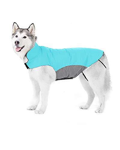 Bwiv Abrigos para Perros de Invierno Chaqueta Impermeable Forrado de Polar con Apertura para Correa Azul 5XL