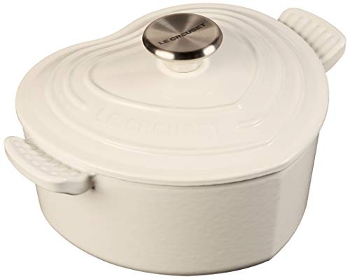 Le Creuset Heart Shaped Dutch Oven With Stainless Steel Knob, 2.25 qt, White