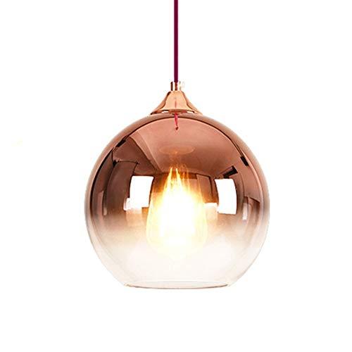 Moderna lampada a sospensione a globo in vetro Ristoranti, E27 Lampada a sospensione a soffitto nordica Paralume Bar, Lampada a sospensione Paralume Decorativo Soggiorno Oro rosa 20 cm