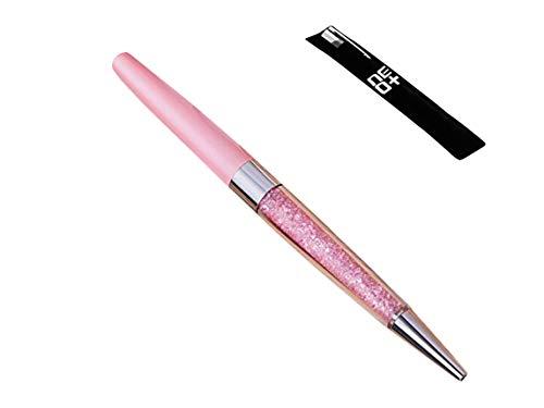 Bolígrafo de cristal hecho con 140 brillantes elementos de cristal. Recarga de lápiz incluida (ROSA)