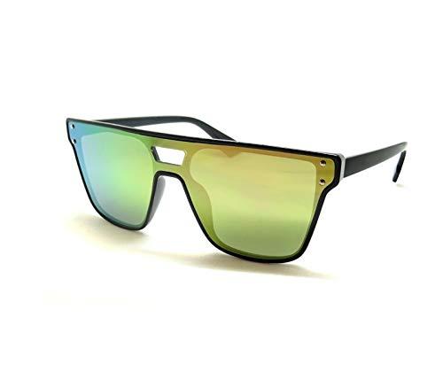 Gafas de sol con espejo rectangular, monocromo, multicolor, piloto de policía verde