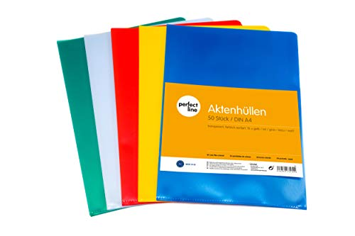 perfect line 50 Akten-Hüllen DIN-A4 bunt, Dokumenten-Huelle seitlich & oben offen, Klar-Sicht-Folien farbig, 5 Farben, Plastik Einsteck-Taschen genarbt & dokumentenecht, Schutz von Papier & Urkunden
