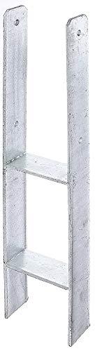 Gartenwelt Riegelsberger H-Pfostenträger mit CE-Kennzeichnung Bodenhülse Pfostenanker Pfostenschuh Anker Carport feuerverzinkt 121 x 600/6