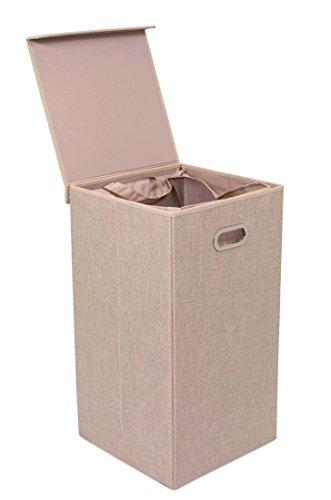 BirdRock Home cesto para la colada con tapa y forros, marrón, doble