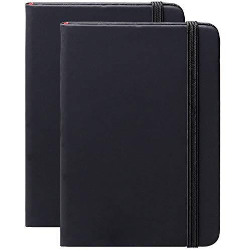 Nuoshen, Taccuino tascabile nero con copertina rigida, formato A6, carta spessa, 180 pagine, 14,2 x 9,5 cm, confezione da 2