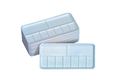 Jack Richeson Plastic 7 Well Palette Trays, 3-1/4 x 7-1/4 Inches, Pack of 12