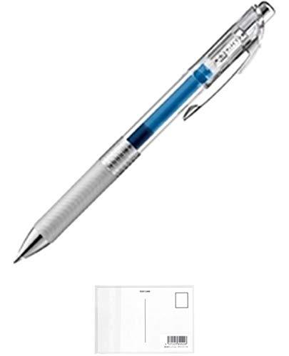 ぺんてる エナージェル インフリー ボールペン クリア軸 0.7mm 青 BL77TL-C 【 × 3 本 】 + 画材屋ドットコム ポストカードA