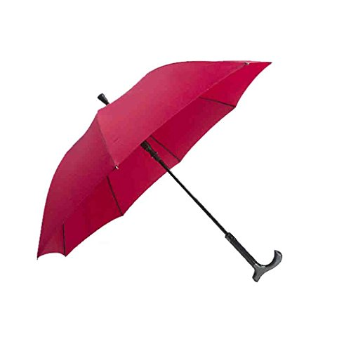 LL Krücken Regenschirm Gehstock-Regenschirm-ältere Rutschfeste Multifunktionsbewehrung-im Freien-Sonnenschutz-Bergsteiger-Regenschirm-automatische Krücke