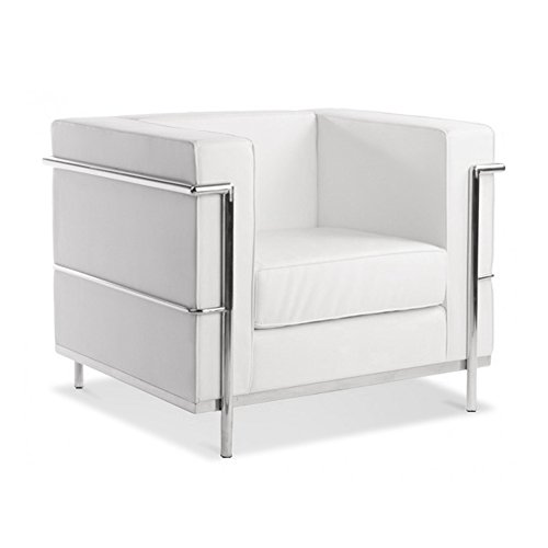Mid-Century LC2 Style Classic Designer Chair - Genuine Leather (White)
