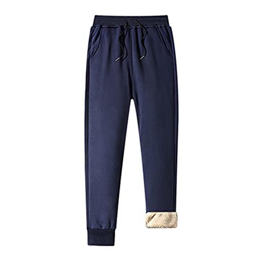 SKYWPOJU Pantalones de vellón térmico para hombres, forro de vellón engrosado, pantalones...