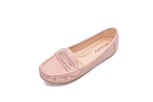 Comfortable Cushioned Insole Slip On Loafer Moccasins Flats Driving & Walking Shoes for Women, Angie Pink Size 11