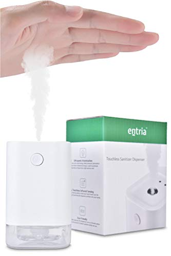 Entria Home Touchless Hand and Phone Sanitizer Dispenser - Automatic Touch Free Liquid Alcohol Spray | Small Refillable Bottle for Home, Office, Restaurant, and More