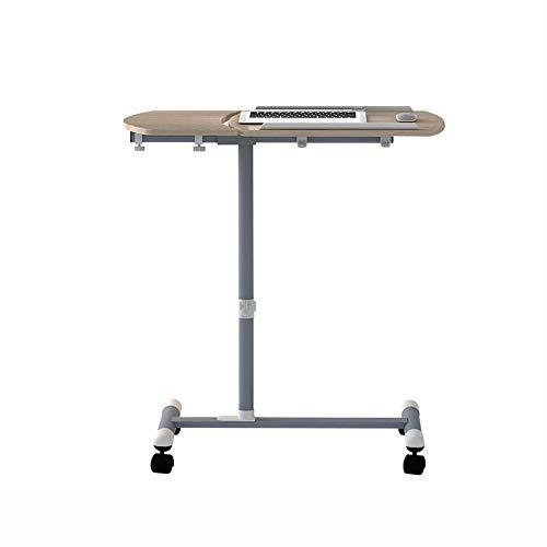 QIDI Laptop-Tisch Stand Schreibtisch Wagen Mausbrett Verstellbare Höhe 180 ° Neigung Hölzern Abschließbar 4 Rollen Tragbar Sofa Bett Büro (Farbe : Brown)