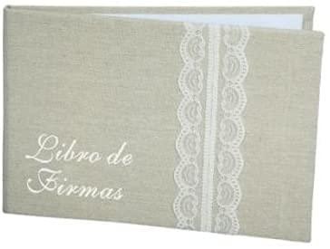 MIRVEN - Libro De Firmas Yute Bodas Kraft - Libros de Firmas...