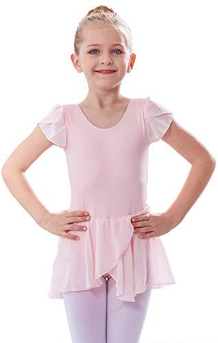 MdnMd Petal Sleeve Dance Ballet Leotard for Girls Toddler Tutu Skirt Ballerina Dress Outfit (Ballet Pink, Age 4-6 / 4t,5t)
