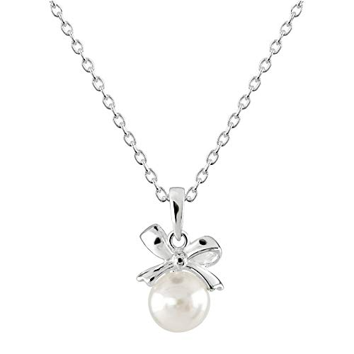 Dew Dinky Small Bow with Freshwater Pearl Pendant 9648FP028